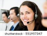 beautiful smiling woman working ... | Shutterstock . vector #551957347