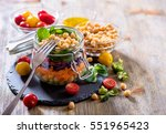 healthy homemade chickpea and... | Shutterstock . vector #551965423