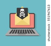 envelope with skullon the... | Shutterstock .eps vector #551967613