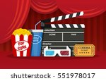 retro movie set. black... | Shutterstock . vector #551978017