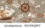 old map seamless pattern ... | Shutterstock .eps vector #551992897