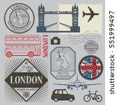 travel stamps or symbols set ... | Shutterstock .eps vector #551999497