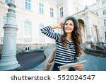 gorgeous tourist girl with... | Shutterstock . vector #552024547