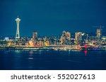 part of the seattle skyline in... | Shutterstock . vector #552027613