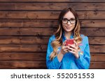 beautiful young hipster woman... | Shutterstock . vector #552051553