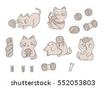 funny cartoon cats playing with ... | Shutterstock .eps vector #552053803