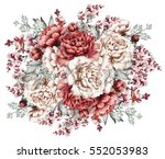 red peonies. watercolor flowers.... | Shutterstock . vector #552053983