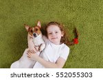 curly little girl embracing... | Shutterstock . vector #552055303