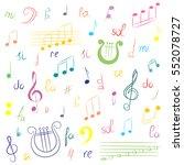 hand drawn set of  music... | Shutterstock .eps vector #552078727