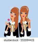 Two Twins Teen Girls Friends...