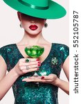 girl in a green hat with a... | Shutterstock . vector #552105787