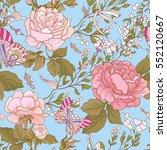 roses and butterflies. seamless ... | Shutterstock .eps vector #552120667