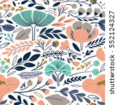 vector floral pattern with... | Shutterstock .eps vector #552124327