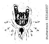 rock on lettering. rock and... | Shutterstock .eps vector #552160357
