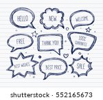 hand drawn speech and thought... | Shutterstock .eps vector #552165673