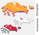 singapore flags on map element... | Shutterstock .eps vector #552168397