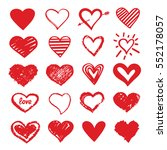 set of hand drawn red hearts   | Shutterstock . vector #552178057