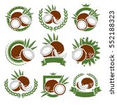 coconut labels and elements set.... | Shutterstock .eps vector #552188323
