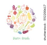 card with colored doodle fruits ... | Shutterstock .eps vector #552200617