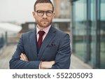 single serious handsome bearded ...   Shutterstock . vector #552205093