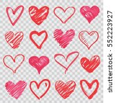 hand drawn vector hearts | Shutterstock .eps vector #552223927