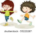 illustration of a girl and boy...   Shutterstock . vector #55223287