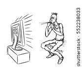 a whistling man watching tv ... | Shutterstock .eps vector #552238033
