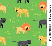 wild cats lion leopard and... | Shutterstock .eps vector #552241933