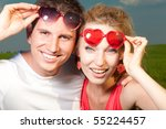 young love couple smiling | Shutterstock . vector #55224457
