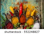 various colorful spices on... | Shutterstock . vector #552248827