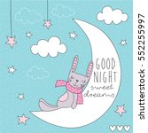 Cute Bunny On The Moon Vector...