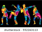 dancing people silhouettes.... | Shutterstock .eps vector #552263113