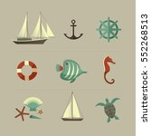 summer icons set. vector... | Shutterstock .eps vector #552268513