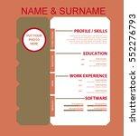 vector minimalist cv resume... | Shutterstock .eps vector #552276793