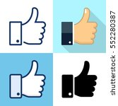 set of thumbs up icons. flat ... | Shutterstock .eps vector #552280387