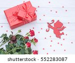 valentines day floral flat lay... | Shutterstock . vector #552283087