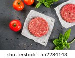 fresh raw home made minced beef ... | Shutterstock . vector #552284143