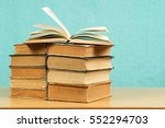 open book  stack of hardback... | Shutterstock . vector #552294703
