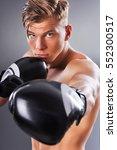portrait of handsome muscular... | Shutterstock . vector #552300517