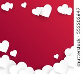 Valentine's day abstract background with cut paper hearts. Vector illustration | Shutterstock vector #552302647