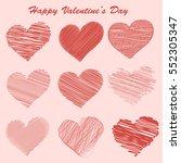 set of valentine day doodle... | Shutterstock .eps vector #552305347
