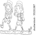 sketch of boy and girl on white ... | Shutterstock . vector #55231387