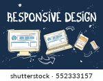responsive design laptop phone... | Shutterstock .eps vector #552333157
