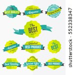 set of retro labels  flat... | Shutterstock .eps vector #552338347