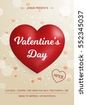 valentine's day flyer. 3d red... | Shutterstock .eps vector #552345037