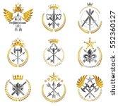 vintage weapon emblems set.... | Shutterstock .eps vector #552360127