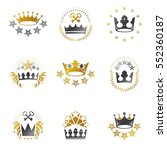 royal crowns emblems set.... | Shutterstock .eps vector #552360187