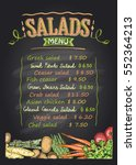 salads menu list chalkboard...   Shutterstock .eps vector #552364213