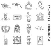 museum set icons in outline... | Shutterstock .eps vector #552367423