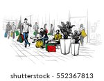 people shopping at a mall | Shutterstock .eps vector #552367813